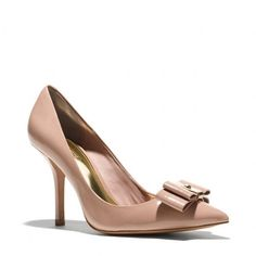 Coach Landrie Heel ($225) ❤ liked on Polyvore featuring shoes, pumps, coach, heels, warm blush, zapatos, pointed-toe pumps, coach pumps, patent pointed toe pumps and pointed toe high heel pumps