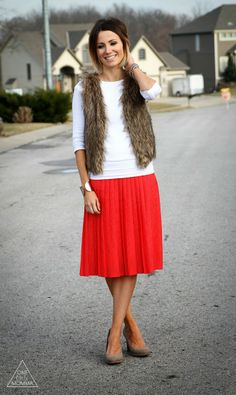 Fur and red skirt, nude heels
