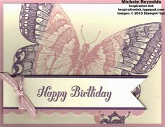 Handmade birthday card using Stampin' Up! products - Swallowtail single-image stamp and Bring On the Cake Set (retired).  By Michele Reynolds, Inspiration Ink.  http://inspirationink.typepad.com/inspiration-ink/2013/07/walk-in-wednesday-swallowtail-and-flower-shop.html
