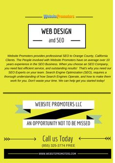 http://websitepromoters.com/ is one of the top Orange County SEO companies that have been offering state of the art service to businesses of all shapes and sizes. call (855) 325-3774 FREE or email us at Sales@Websitepromoters.com