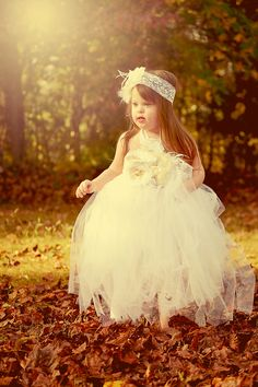 Fall photography tutu dress with fabric flower belt accents. Amanda Whitley Photography