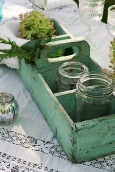 Vintage wooden box.  Love the milky aqua color.