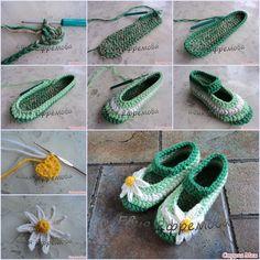 How to Crochet Beautiful Wild Daisy Ballet Shoes tutorial and instruction. Follow us: www.facebook.com/fabartdiy