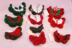 Handmade crochet Christmas ornaments * Christmas butterflies - pinned by pin4etsy.com