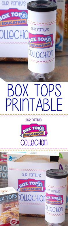 This {FREE} Box Tops Collection Printable is available in two sizes and is a fun way to keep your Box Tops organized and get your kids excited about raising money for their school!