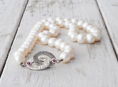 White Culture Pearl All Time Classic Necklace, Scarlet Red Ruby Jewel Clasp, Bridal Statement Jewelry, June Birthstone, Santorini Jewelry   $265.59