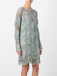 Chloé платье макраме с бахромой