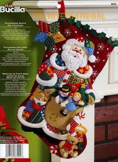 """Bucilla Teddy With Ornaments ~ 18/"""" Felt Christmas Stocking Kit #85174 Bear Santa"""