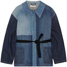 Étoile Isabel Marant Dani denim jacket (300 CAD) ❤ liked on Polyvore featuring outerwear, jackets, mid denim, blue jackets, denim jacket, tie belt, jean jacket and blue denim jacket