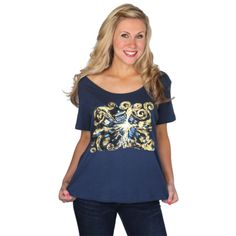 """Van Gogh Tee from Her Universe  """"Just like Vincent Van Gogh we couldn't get the image of the exploding Tardis out of our heads! We loved this painting so much that we had to capture it on a top! This beautiful print is accented with highlights of gold foil. You'll love this flattering box tee with a wide scoop neck!  A Cotton  Loose Fit Wide Scoop Neck Tee."""""""