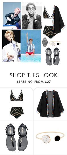 """""""Summer with rap monster"""" by amandalayouni ❤ liked on Polyvore featuring Zimmermann, Yves Saint Laurent and BOSS Black"""