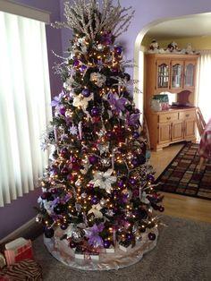 purple silver black christmas tree