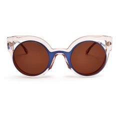 Fendi Bi-colour round-framed sunglasses (625 CAD) ❤ liked on Polyvore featuring accessories, eyewear, sunglasses, clear, oversized glasses, clear glasses, oversized round sunglasses, oversized clear glasses and fendi