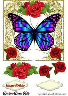 Pretty Gold Framed Butterfly Birthday on Craftsuprint designed by Donna Kelly - Stunning red roses adorn this Birthday card topper, approx 7x7, with decoupage and 2 sentiment tags one blank, sentiment is Happy Birthday - Now available for download!