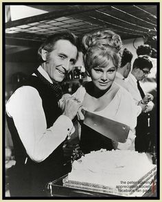 Peter Cushing and Susan Denberg cleave the cake on the set of Frankenstein Created Woman.