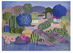 Tarsila do Amaral (Brazilian, 1886-1973) - Landscaping with Roses and Purple Flowers, 1962