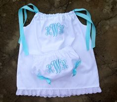 Monogrammed Baby Girls Outfit White Beach Dress and Bloomers Spring and Summer baby shower gift on Etsy, $48.00