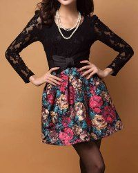 $11.00 Elegant Style Long Sleeves Floral Print Lace Splicing Bowknot Embellished Dress For Women