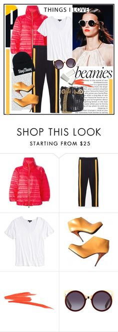 """""""Bad Hair Day: Beanies"""" by stylemeup-649 ❤ liked on Polyvore featuring le top, Moncler, Topshop and Giuseppe Zanotti"""