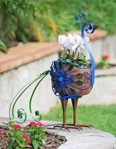 Filigree Peacock Planter Only $49.95 At Garden Fun   Animal Planters
