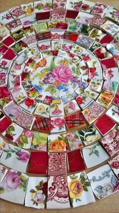 "You are bidding on a stunning collection of 185 of hand cut mosaic tile pieces of vintage pottery in an array of vibrant colours and designs. Although the pieces lie flat they may vary in thickness but can be evened out when applying the tile adhesive. The pieces are snipped to reduce sharp edges but always be careful when using. Sizes vary from 1/2"" to 1.25"". The lovely central focal pieces is approx 2.75"" in diameter and is English China.. The diameter of the circle is approx 14.5"" and…"
