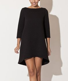 Another great find on #zulily! Black Quilted Hi-Low Dress by Katrus #zulilyfinds