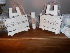Bride & Groom. Chair signs  Cottage, Chippy, Distressed