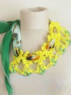 YEMENI  necklace YELLOW Spring trends and Fashiongreen by asuhan, $25.00