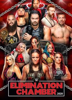 WWE Elimination Chamber 2020 Poster by Chirantha on DeviantArt Wwe Events, Wwe Ppv, Wwe Royal Rumble, Wwe Pictures, Now And Forever, Roman Reigns, Wwe Superstars, Cool Posters, Caricature