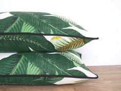 Tropical outdoor pillow cover swaying palm leaf, leaf cushion outside bench, green and black outdoor lumbar pillow case modern regency