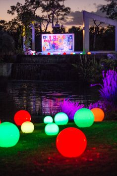 The Burle Marx Plaza and waterfall in the Brazilian Garden, Naples Botanical Garden for Night Lights 2012-13.
