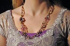 Very Violet Hand Beaded Necklace Made From by AvantGardeAntique, $45.00