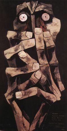 Lágrimas de Sangre Este cuadro está dedicado a 3 personajes chilenos a los cuales Guayasamín admiraba profundamente. Estos eran Salvador Allende, Víctor Jara y Pablo Neruda, el último gran amigo del Maestro.  El cuadro es reacción a los acontecimientos de lesa humanidad sucedidos durante la dictadura militar de Augusto Pinochet en Chile. Óleo sobre tela 2.20 x 1.10 cm