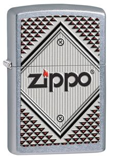 The geometric shapes and design of this windproof lighter give it a rugged look. This Street Chrome™ lighter displays the Zippo logo on a bolted sign with red and black triangles framing the sign. Comes packaged in an environmentally friendly gift box. For optimal performance, use with Zippo premium lighter fluid.