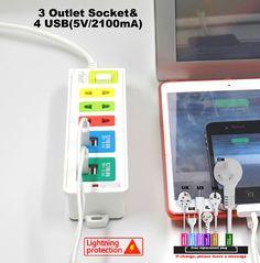 AU EU UK US socket adapter Fast charging 4 USB Extension Socket with Lightning protection system