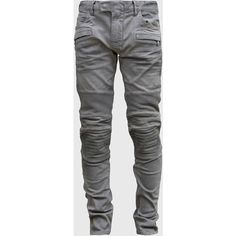 Balmain Light Grey Ribbed panels Biker jeans found on Polyvore featuring polyvore, men's fashion, men's clothing, men's jeans, jeans, men, mens jeans, grey, mens biker jeans and balmain men's jeans