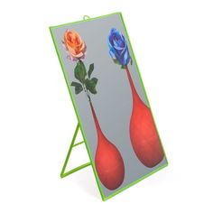 "Seletti Toiletpaper ""Roses in Vases"" Lime Green Framed Mirror - Trouva Flower Mirror, Flower Vases, Green Framed Mirrors, Gifts For Her, Great Gifts, Vintage Mirrors, Plastic Glass, Standing Mirror, Big Flowers"