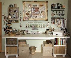 ideas for vintage craft room organization offices Vintage Craft Room, Vintage Crafts, Craft Room Storage, Craft Organization, Craft Rooms, Desk Storage, Storage Ideas, Space Crafts, Home Crafts