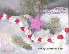 Winter snow art with star by Nancy Lee Moran copyrighted 2014 USA, oil painting for art licensing, elegant design in colors of Pantone Radiant Orchid, green, red cranberry garlands, crimson, violet, blue, lavender