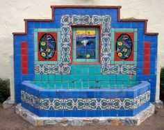 Beautiful Catalina Tile Fountain with Wading Crain and Fantasy Bird Murals - It was moved from the Bird Park to the bus plaza