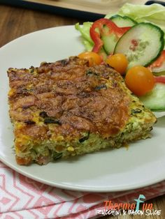 Thermomix Zucchini and Bacon Slice when you just need something a little different for the dinner table, that you know everyone will devour. I do suggest pu Cantaloupe Recipes, Radish Recipes, Healthy Recipes, Keto Recipes, Zucchini Slice Thermomix, Lchf, Banting, Cheddarwurst Recipe, Vegan