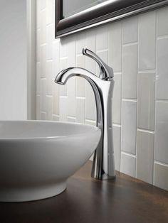 Vertical subway tile shakes traditional up: Subway Tile Backsplash | HGTVRemodels.com.... Like for bathroom