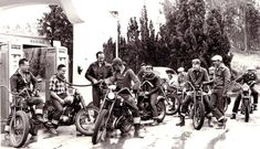 """character actor Keenan Wynn actually raced motorcycles. Here Wynn (with cigar) fills up for his riding pals, about sixty-odd years ago."""""""