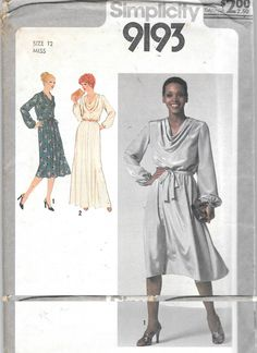 "Vintage 1979 UNCUT Simplicity 9193 Evening Formal Dress Cowl Neck Size 12 Bust 34"" by SinclairsStuff on Etsy"