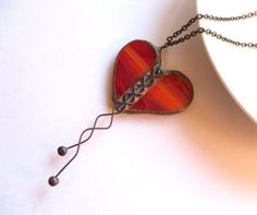 Heart necklace sculpture stained glass pendant by ArtemisFantasy