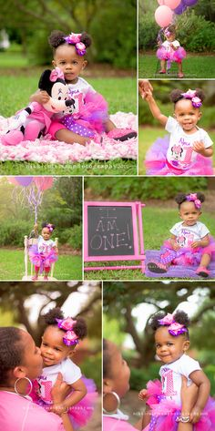 Good Morning! Today's featured session is so cute. May I introduce you to Miss Nyla. She just turned one and had a Minnie Mouse theme birthday party, so we used those colors in her photo sess…