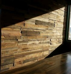 Reclaimed pallet wood wall paneling. Sustainable Lumber Co.: