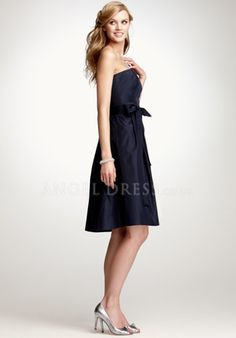 A line Taffeta Strapless Knee Length Empire Sleeveless Bridesmaid Dress With Sash/ Ribbon