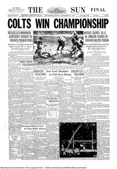 The Sun Front Page, Johnny Unitas, Nfl Championships, Baltimore Colts, Nfl Football Players, Football Pictures, College Football, Retro, Dolphins