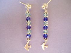 FREE SHIPPING-Dove and blue glass beaded earrings - gypsy style - bohemian jewelry - Christmas gift. $12,00, via Etsy.